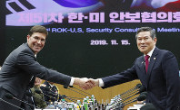 U.S. Defense Secretary Mark Esper, left, and South Korean Defense Minister Jeong Kyeong-doo shake hands for the media prior to the 51st Security Consultative Meeting (SCM) at Defense Ministry in Seoul, South Korea, on Nov. 15, 2019. (AP Photo/Lee Jin-man, Pool)