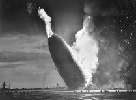 In this May 6, 1937 file photo, the German dirigible Hindenburg crashes to earth in flames after exploding at the U.S. Naval Station in Lakehurst, N.J. (AP Photo/Murray Becker)