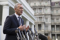 NATO Secretary-General Jens Stoltenberg speaks with reporters after meeting with President Donald Trump at the White House, on Nov. 14, 2019, in Washington. (AP Photo/Alex Brandon)