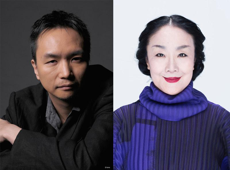 演出の長塚圭史(左)とおばば役の白石加代子(右)