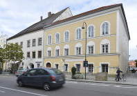 This Sept. 27, 2012 file photo shows an exterior view of Adolf Hitler's birth house, front, in Braunau am Inn, Austria. (AP Photo / Kerstin Joensson)
