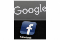 This file photo combo of images shows a Google sign and the Facebook app. In a scathing indictment of the two most powerful corporate giants of the internet, Amnesty International insists in a new report published on Nov. 21, 2019, that Google and Facebook be compelled to change what it calls their surveillance-based business models. (AP Photo)
