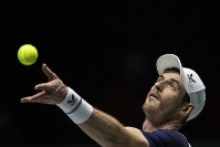 Great Britain's Andy Murray serves during the Davis Cup tennis match against Netherlands' Tallon Griekspoor in Madrid, Spain, on Nov. 20, 2019. (AP Photo/Bernat Armangue)