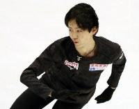 Japan's Koshiro Shimada is seen performing during a practice session ahead of the ISU Grand Prix of Figure Skating NHK Trophy, on Nov. 21, 2019, at Makomanai Sekisuiheim Ice Arena in Sapporo. (Mainichi/Taichi Kaizuka)