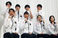 Clockwise from top left, Sota Yamamoto, Yuzuru Hanyu, Koshiro Shimada, Ryuichi Kihara, Yuhana Yokoi, Mako Yamashita, Rika Kihira and Riku Miura are seen at a press conference ahead of the ISU Grand Prix of Figure Skating NHK Trophy, in Sapporo, on Nov. 21, 2019. (Mainichi/Taichi Kaizuka)