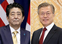 This combined file photo shows Japanese Prime Minister Shinzo Abe, left, and South Korean President Moon Jae-in. (Kyodo)