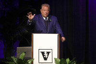 Former Vice President Al Gore speaks on climate change at Vanderbilt University as part of a worldwide event called 24 Hours of Reality: Truth in Action on Nov. 20, 2019, in Nashville, Tenn. (AP Photo/Mark Humphrey)