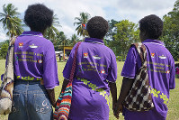 In this April 2018 photo released by United Nations Development Programme, women in the village of Aero, Central Bougainville, come together for a unification ceremony. (Nick Turner/UNDP via AP)