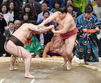 Yokozuna Hakuho, left, pushes komusubi Abi out of the ring on the 13th day of the Kyushu Grand Sumo Tournament in Fukuoka, on Nov. 22, 2019. (Mainichi/Tomohisa Yazu)
