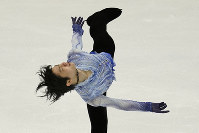 Yuzuru Hanyu of Japan performs in the men's short program during the ISU Grand Prix of Figure Skating in Sapporo, northern Japan, on Nov. 22, 2019. (AP Photo/Toru Hanai)