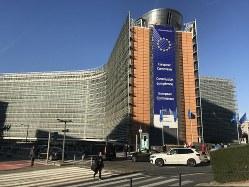 ブリュッセルの欧州委員会本部ビル=八田浩輔撮影