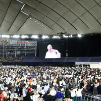 東京ドームで行われたフランシスコ・ローマ教皇のミサ=東京ドームで2019年11月25日午後3時46分、梅村直承撮影