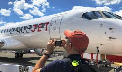 パリ航空ショーに出展されたスペースジェット=2019年6月17日、賀有勇撮影