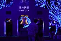 Visitors take a selfie against a background of illuminated zelkova trees in Tokyo's Shibuya Ward on Nov. 28, 2019. (Mainichi/Kota Yoshida)