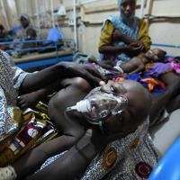 小児集中治療室で治療を受けるマラリアに感染した子ども。施設全体で約100床のベッドがあるが、流行期には毎日約100~150人の患者が訪れる。ベッドが足りず、1つのベッドに2、3人の子どもが寝かせられることもある=ナイジェリア・ボルノ州マイドゥグリで2019年9月27日、山崎一輝撮影