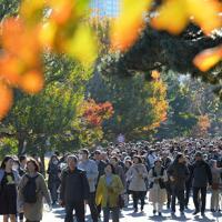 秋の一般公開が始まり、乾通りの紅葉を楽しむ大勢の人たち=皇居で2019年11月30日午前9時4分、手塚耕一郎撮影