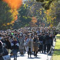 秋の一般公開が始まり、乾通りの紅葉を楽しむ大勢の人たち=皇居で2019年11月30日午前9時3分、手塚耕一郎撮影