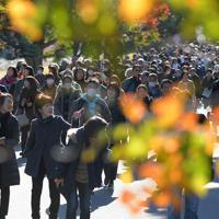 秋の一般公開が始まり、紅葉の乾通りを楽しむ大勢の人たち=皇居で2019年11月30日午前9時11分、手塚耕一郎撮影