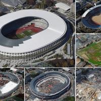㊧㊤完成し、日本スポーツ振興センターに引き渡された国立競技場=2019年11月30日(右上から時計回りに)旧国立競技場=14年12月、更地になった建設予定地=15年12月、多数の重機による建設工事=17年5月、18年7月、姿を現した屋根=18年11月、いずれも本社ヘリから