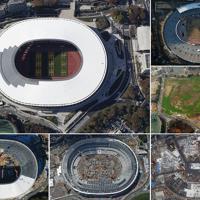 ㊧㊤完成し、日本スポーツ振興センターに引き渡された国立競技場=2019年11月30日(右上から時計回りに)解体される旧国立競技場=15年2月、更地になった建設予定地=15年12月、多数の重機による建設工事=17年7月、18年7月、姿を現した屋根=2019年1月、いずれも本社ヘリから