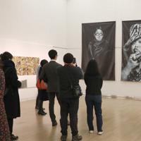 「ここから4」の会場風景=東京都港区の国立新美術館で2019年12月4日、岡本同世撮影