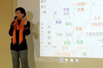レビー小体型認知症と診断された後の受け止め方などについて講演する樋口直美さん=横浜市港北区の慶応大学日吉キャンパスで2017年11月25日撮影、樋口さん提供