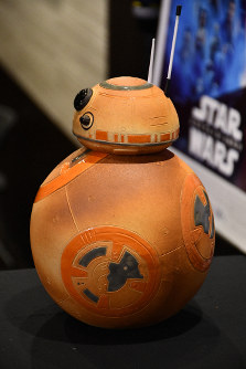A ceramic replica of the popular Star Wars character BB-8 is seen on display at Toho Cinemas Umeda in Osaka's Kita Ward on Dec. 4, 2019. (Mainichi/Kenichi Isono)