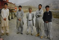 Testu Nakamura, center, and Kazuya Ito, second from left, are seen together with other aid workers on an irrigation project, in Afghanistan in January 2004. Image provided by Kazuya Ito's parents.
