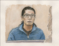 In this illustration, mass murder suspect Satoshi Uematsu speaks with the Mainichi Shimbun during one of a series of interviews at a detention center in Yokohama, south of Tokyo. (Illustration by Yuya Kohama)