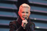Marie Fredriksson, singer of the pop duo Roxette, is seen in this file photo dated July 18, 2015. Fredriksson has died aged 61 after a long illness, according to an announcement on Tuesday, Dec. 10, 2019. (Suvad Mrkonjic / TT via AP)
