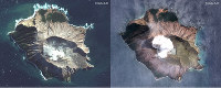 In this combo made from two satellite images taken May 12, 2019, left, and Dec. 11, 2019, right, by Maxar Technologies steam rises from the volcano on White Island off the coast of Whakatane, New Zealand. (Satellite image /2019 Maxar Technologies via AP)