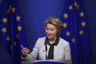 European Commission President Ursula von der Leyen gives a press statement on the European Green Deal at the European Commission headquarters in Brussels, on Dec. 11, 2019. (AP Photo/Francisco Seco)