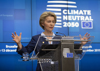 European Council President Ursula von der Leyen speaks during a media conference during an EU summit in Brussels, on Dec. 13, 2019. (AP Photo/Virginia Mayo)