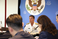 In this photo released by U.S. Embassy in Bangkok, U.S. Navy's Pacific Fleet Commander Adm. John Aquilino talks to reporters at U.S Embassy in Bangkok, Thailand, on Dec. 13, 2019. (U.S. Embassy in Bangkok via AP)