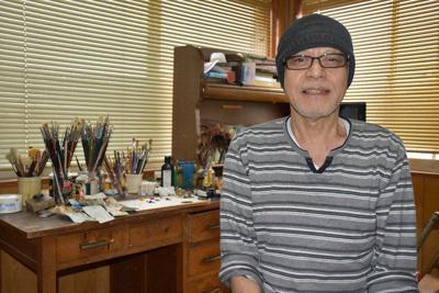 長浜市の画家、高橋誠さん=長浜市宮前町で、若本和夫撮影