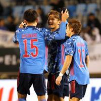 東アジアE-1選手権【日本-香港】前半、日本の2点目となるゴールを決め、喜ぶ田川=韓国・釜山で2019年12月14日、ロイター
