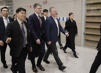 U.S. Special Representative for North Korea Stephen Biegun, center, arrives at Incheon International Airport in Incheon, South Korea, on Dec. 15, 2019. (AP Photo/Lee Jin-man)