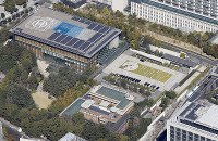 The prime minister's office in Tokyo's Chiyoda Ward is seen from a Mainichi Shimbun helicopter. (Mainichi)