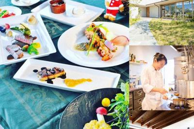 「フレンチ カプリス」で提供される料理の例や、調理する嶋田満友さん、店の内観など=すみたに提供