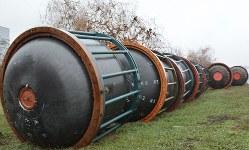 燃料の処理を終えた大陸間弾道ミサイルRT23の1段目= ウクライナ東部パブログラドで2019年11月29日、大前仁撮影