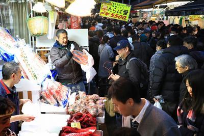 正月を前に、大勢の買い物客でにぎわうアメ横商店街=東京都台東区で2019年12月29日午後4時11分、梅村直承撮影