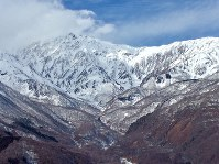 Snowcapped mountains are seen from