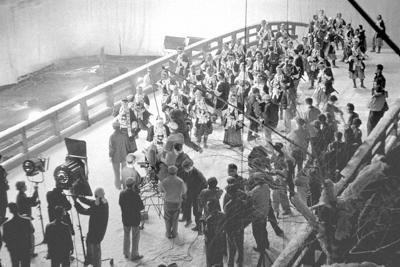 映画黄金期、「忠臣蔵」の撮影風景=東映京都撮影所で1958年11月