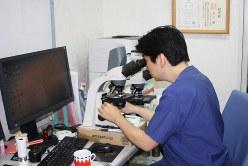 診察室で顕微鏡に向かう谷口恭医師