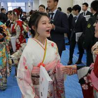 小学5年まで過ごした浪江町で成人式を迎え、再会を喜ぶ新成人たち=福島県浪江町で2020年1月11日午後3時26分、和田大典撮影