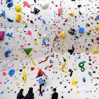完成した「サンガスタジアム by KYOCERA」に作られたクライミングジム=京都府亀岡市で2020年1月11日午前11時24分、久保玲撮影