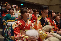 Women clad in kimonos attend a coming-of-age ceremony in the city of Nabari, Mie Prefecture, on Jan. 12, 2020. (Mainichi/Teruko Kukita)