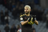 Manchester City's Sergio Aguero applauds supporters at the end of the English Premier League soccer match between Aston Villa and Manchester City at Villa Park in Birmingham, England, on Jan. 12, 2020. (AP Photo/Rui Vieira)