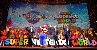Mario and a group of executives are seen at the presentation to reveal Universal Studios Japan's