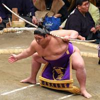 弓取り式を行う将豊竜=東京・両国国技館で2020年1月14日、北山夏帆撮影